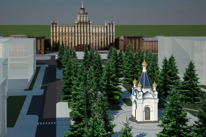 В Челябинске заморозили строительство часовни в сквере