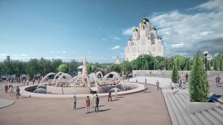 В Екатеринбурге представили проект храма в сквере с озеленением и благоустройством