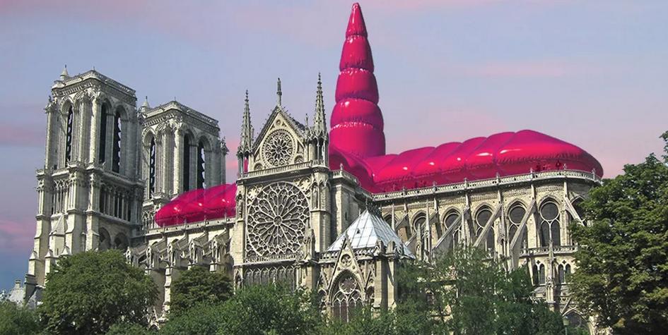Над Нотр-Дамом предложили установить розовую надувную крышу