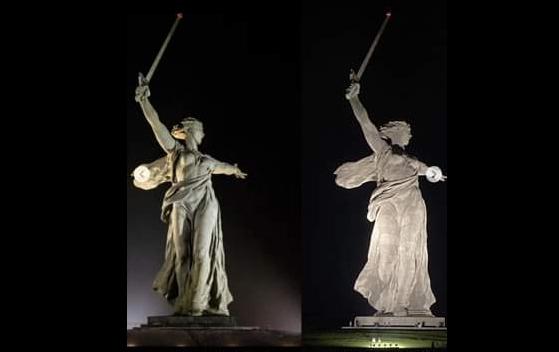Скульптуре «Родина-мать зовет!» требуют вернуть прежнюю подсветку