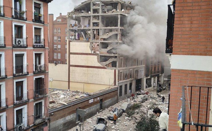 В центре Мадрида взрывом разрушено пять этажей восьмиэтажного дома