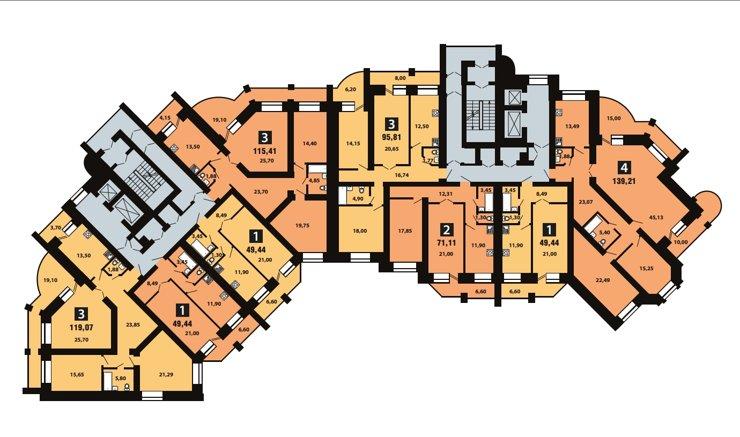 Планировки на официальном сайте застройщика можно посмотреть сразу на весь этаж