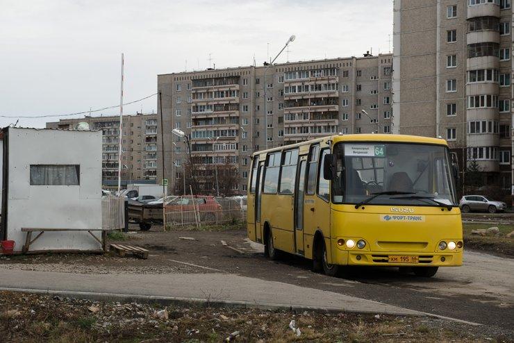 64 автобус идет от Компрессорного до Мичуринского через центр