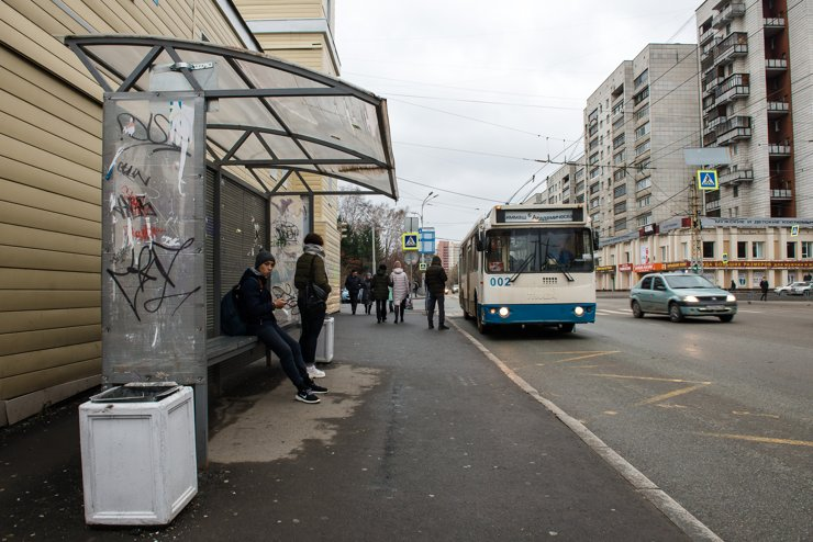 Троллейбусная остановка на Белинского