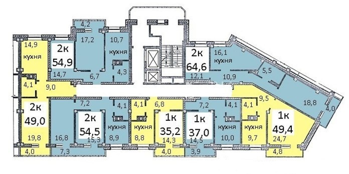Как видно на схеме, подъезды в доме компактные: если на этаже умещаются максимальные семь квартир, то это «однушки» и «двушки» со средним метражом