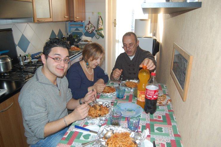 Кристиан со своими родителями в Милане